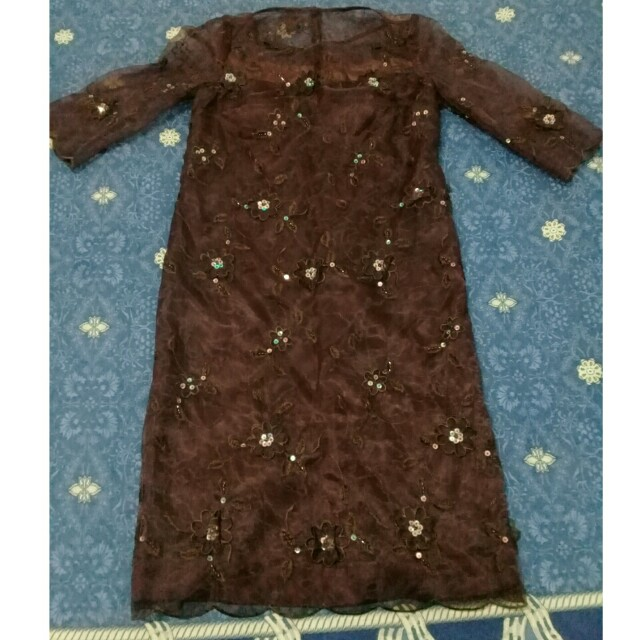 lace sequined dress with padded bra brown