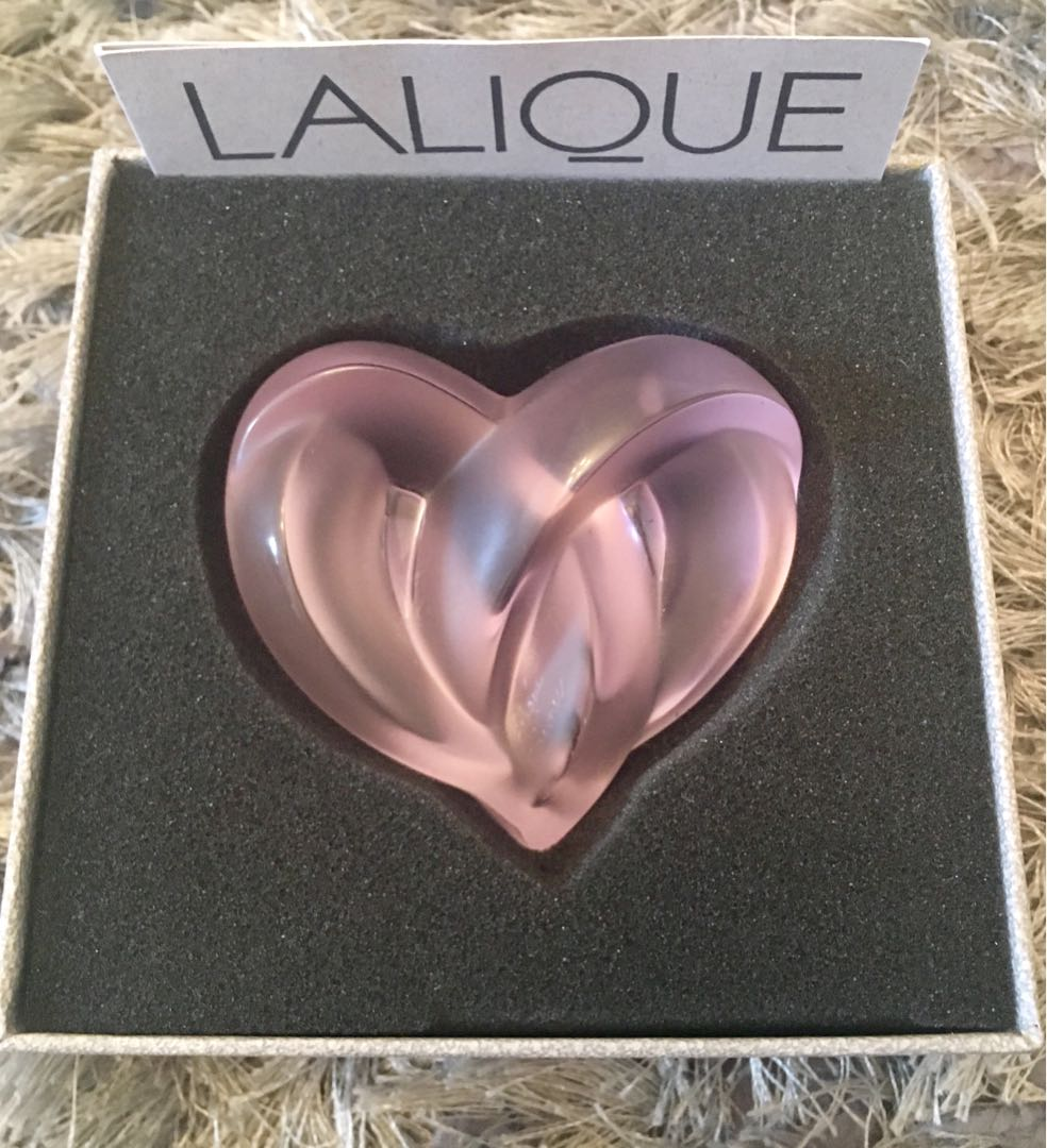 Lalique Pink Heart Paperweight