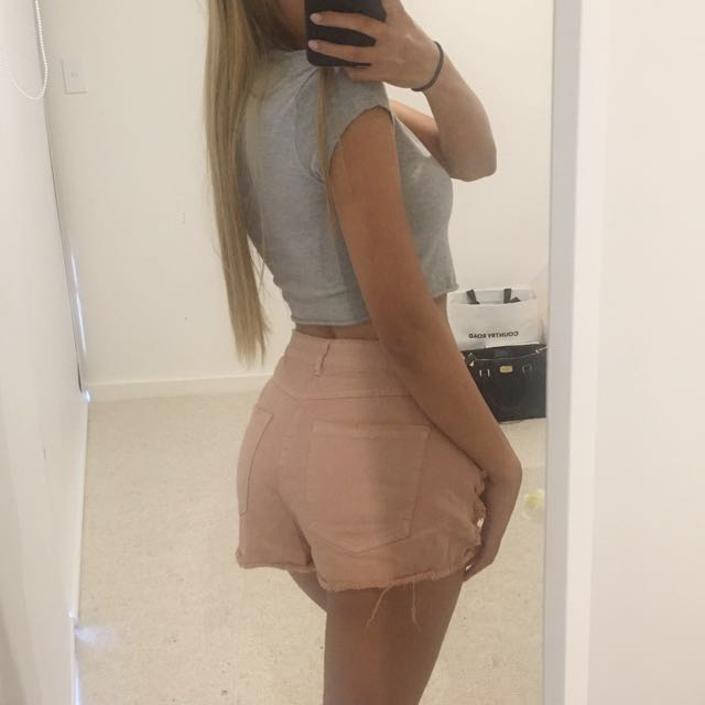 Missguided Pink Denim Shorts