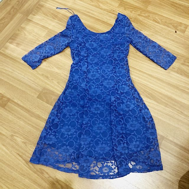 New!! Blue Lace Dress Newlook