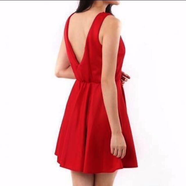 New Deep V Bare Back Mini Dress in Jewel Red