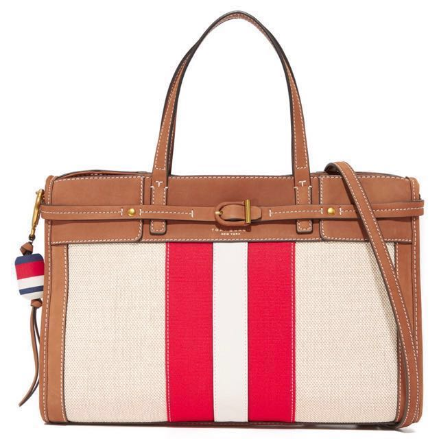 New Tory Burch Canvas Satchel Ivory Nut FREE SHIPPING