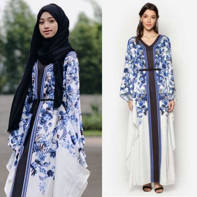 NWT ZALIA BLUE FLOWER KAFTAN DRESS