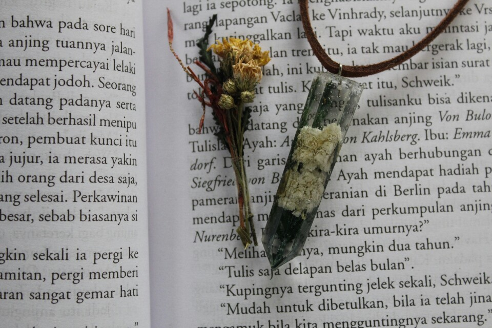 Pendant edelweis, real flower, kalung bunga edelweis