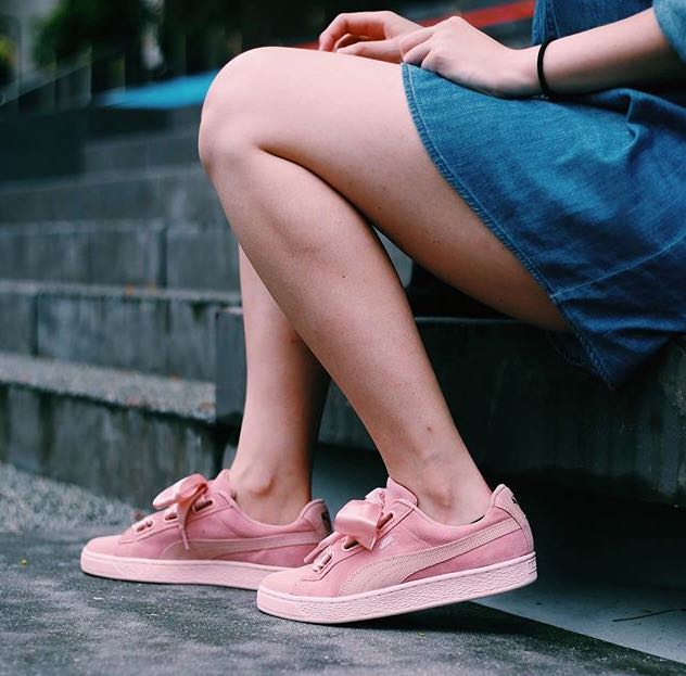 puma suede heart pebble