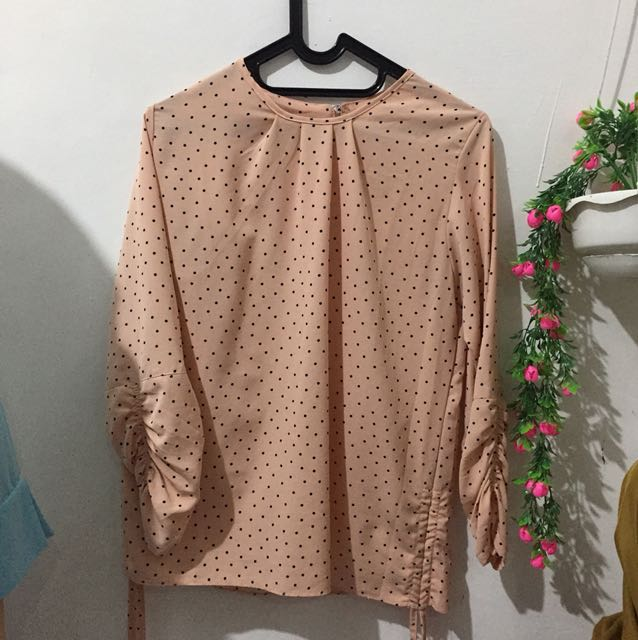 Polcadot blouse peach pastel (SALE)