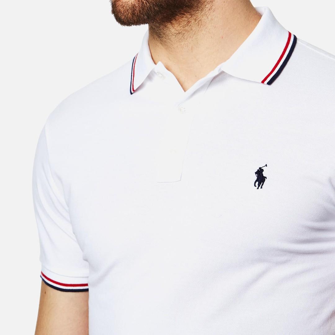 Polo Ralph Lauren Men s Tipped Polo Shirt - White f83510384944