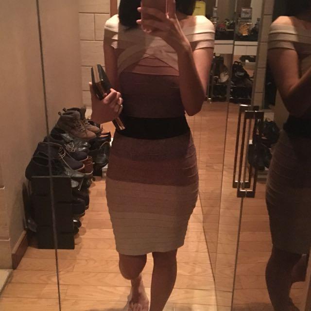 Preloved bodycon dress brown