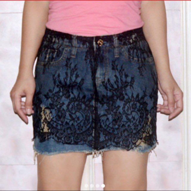 Ripped Denim Skirt with Lace