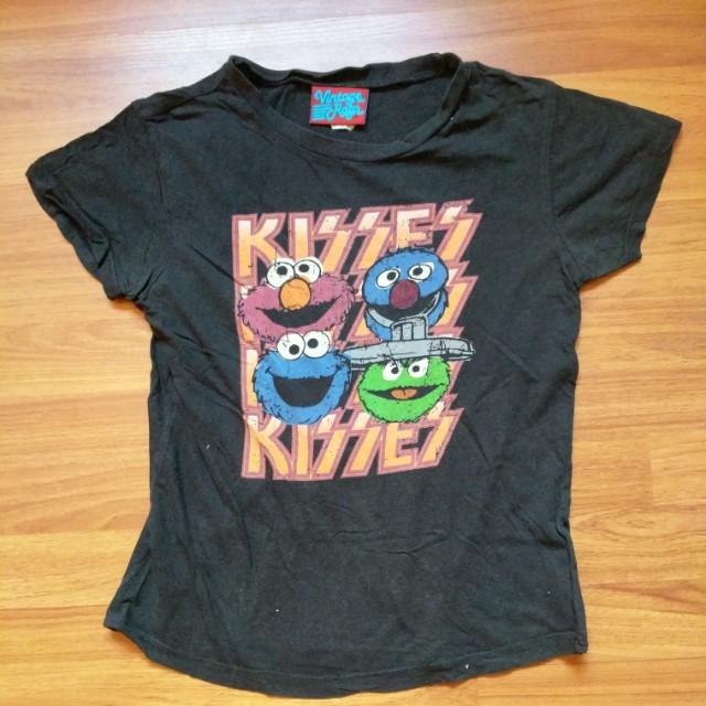 Sesame Street Character Kiss Band Parody Faded Black T-shirt