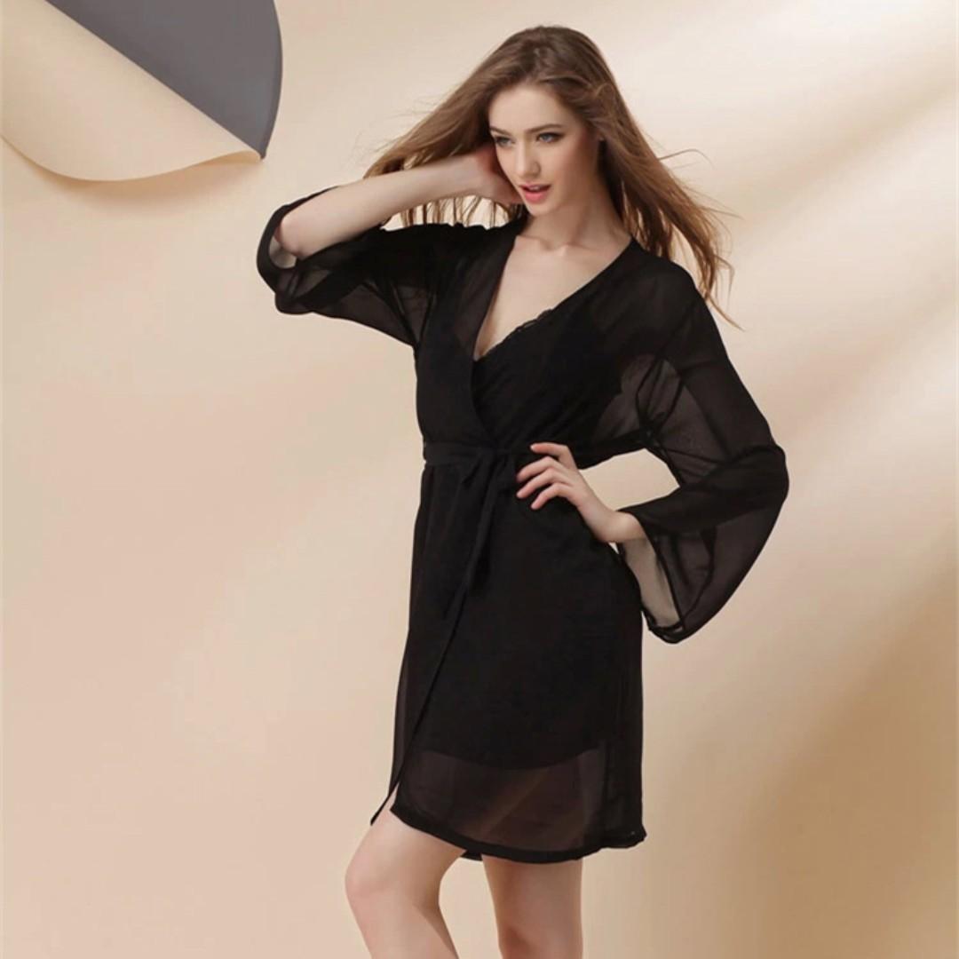 4e98d5e451 sexy two pieces set chiffon sleepwear   sleep dress   sleepdress with robe    lingerie   pyjamas