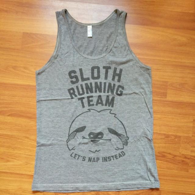 Sloth Running Team Print American Apparel Grey Tank Top