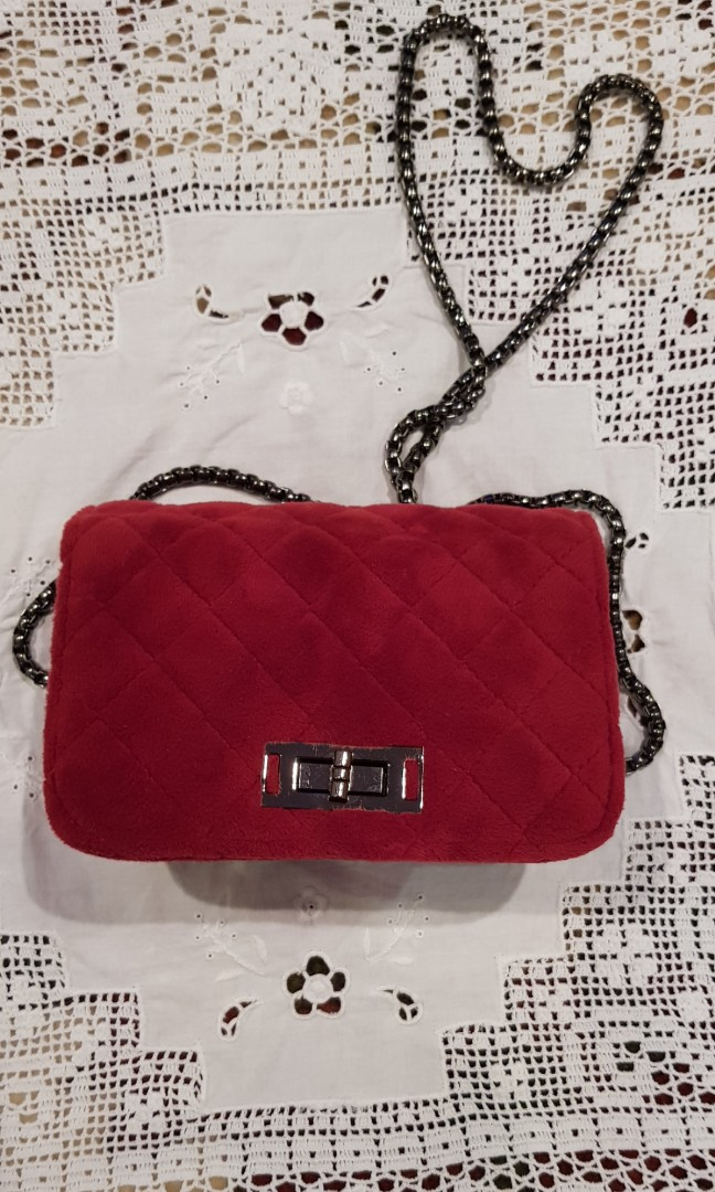 Small Red Flannel cross body bag Free shipping