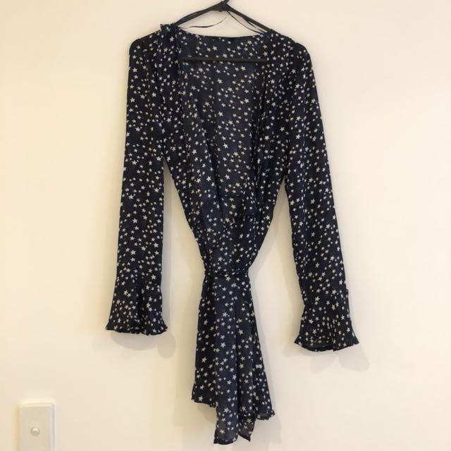 Star print mini wrap dress