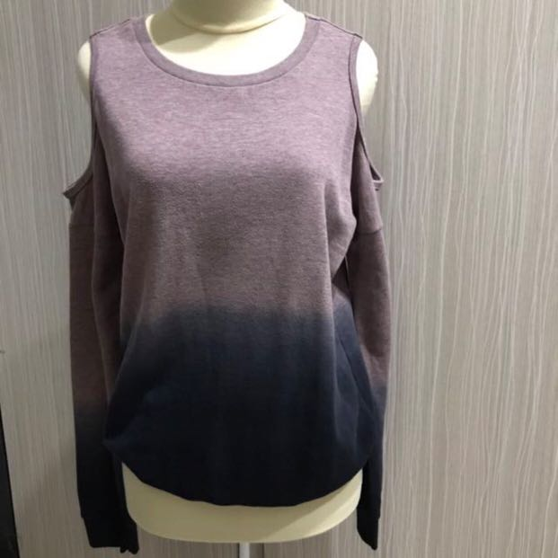 topshop off shoulder ombre purple sweater