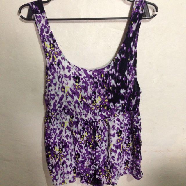 Tunic Printed Violet Romper/Jumpshort