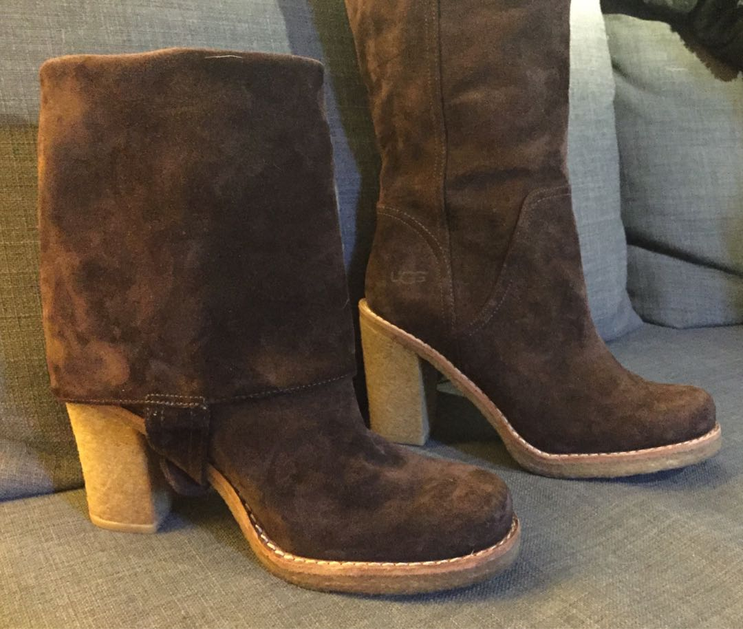 UGG Women's Brown Suede Leather Boots Shoes Size 7 - 7.5