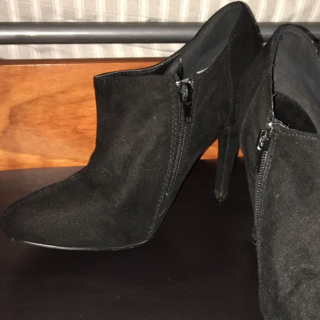 Velour High Heel Ankle Boots