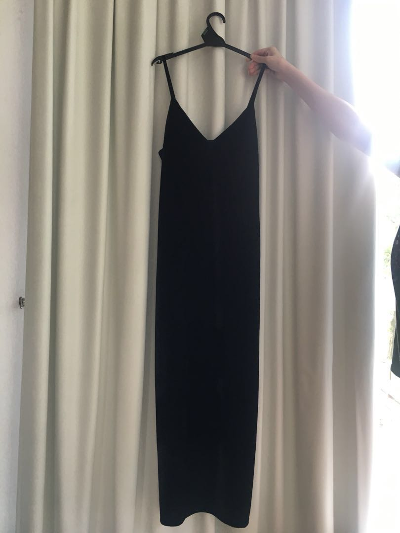 Velvet Maxi Dress in Black