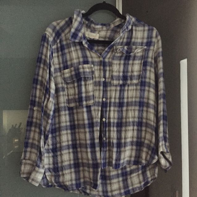 Vince Camuto loose fit plaid shirt