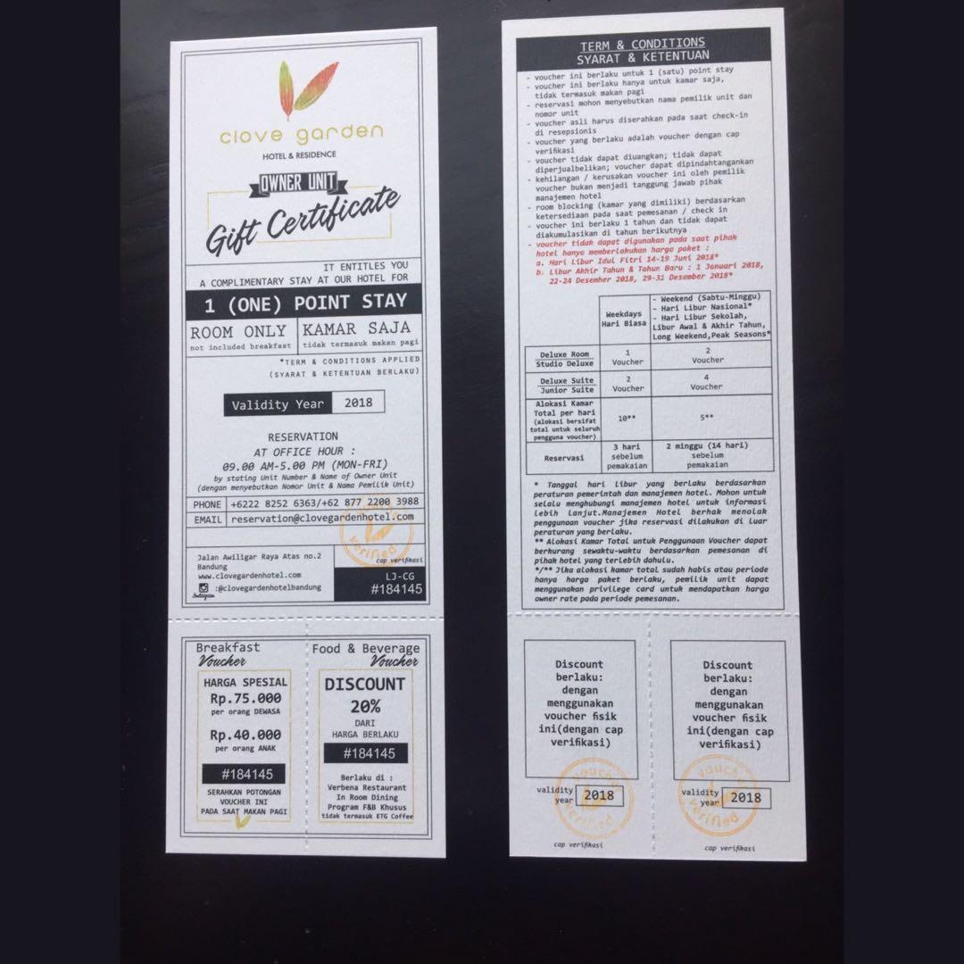 Voucher Clove Garden Hotel Bandung Tiket Kartu Hadiah Alfamart Rp 2000000 Di Carousell
