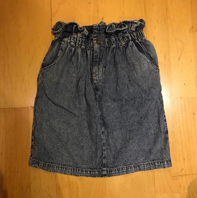 日本wego正品高腰花瓣束口丹寧窄裙