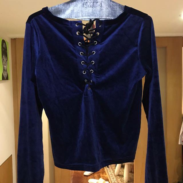 日本wego藍色絲絨喇叭袖開叉後綁帶上衣
