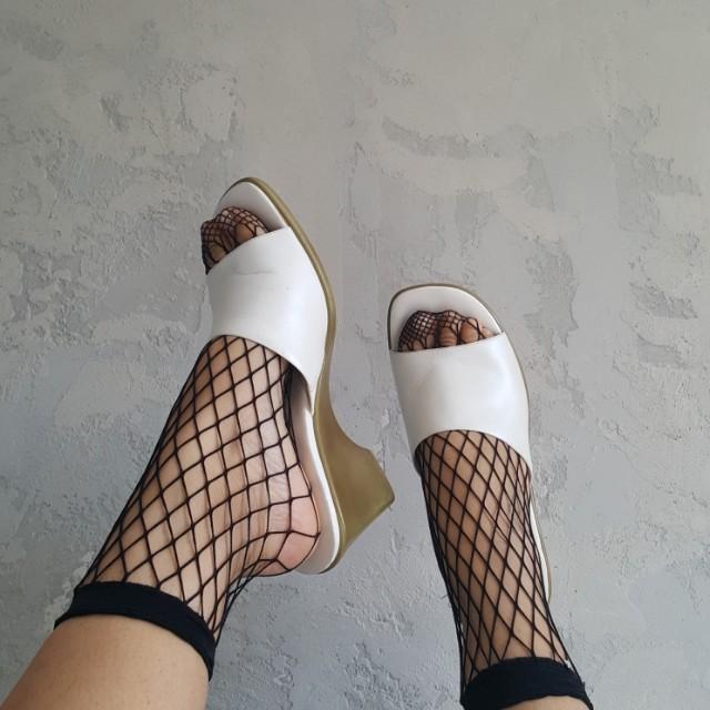 White Leather Slides
