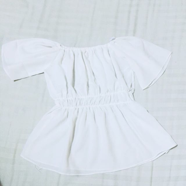 White Ruffles Sabrina Off Shoulder