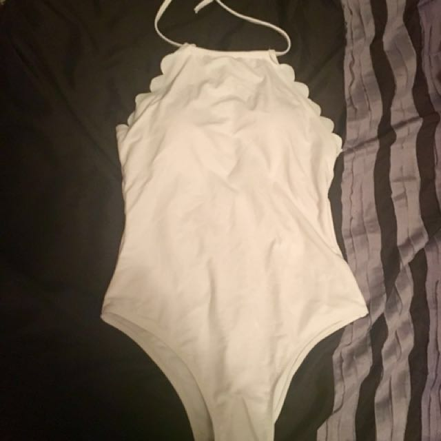 White scalloped one piece bathing suit