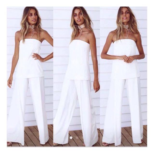 White strapless set