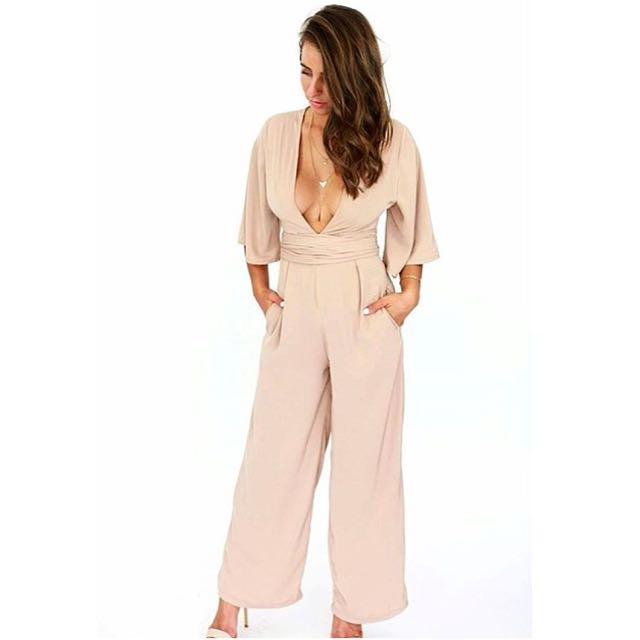 Women's beige jumpsuit - sizes 6, & & 10 AUS