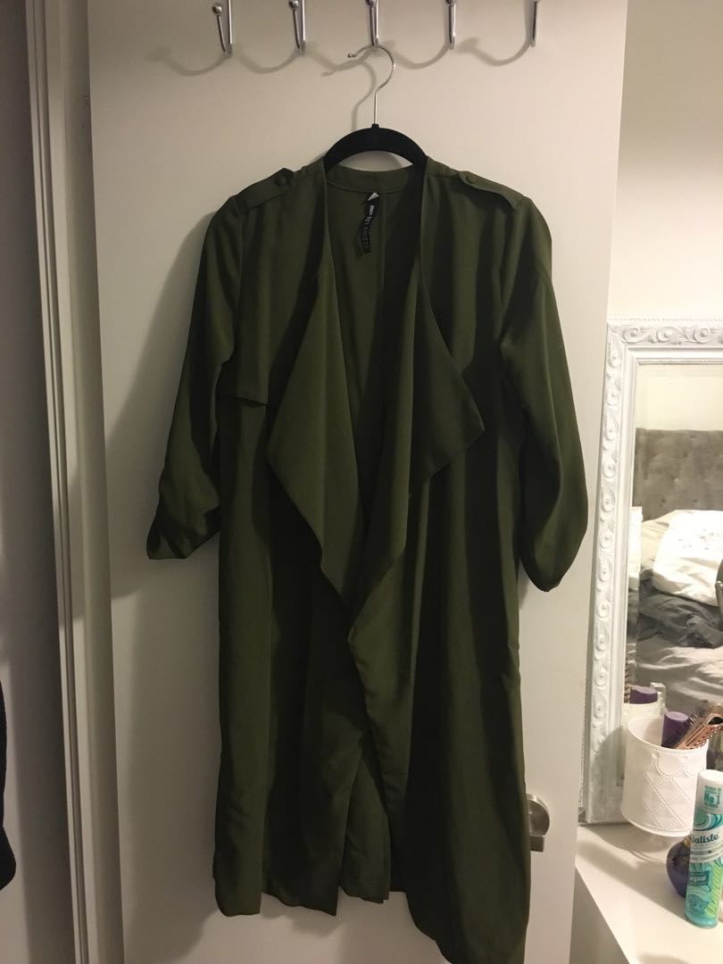 XS army green design lab waterfall jacket