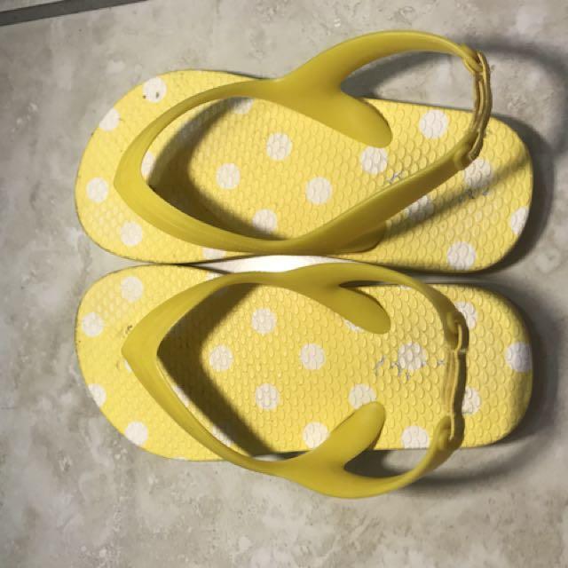 Yellow flip flops for summer