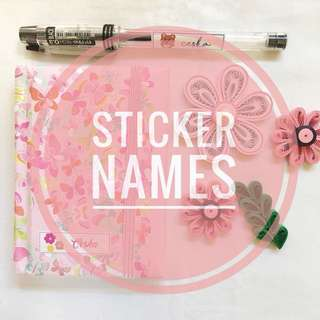 PERSONALIZED STICKER NAMES