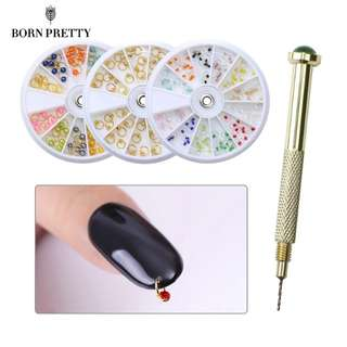 1 Box Colorful Nail Beads Dangle Gold Silver Ring Design Studs Nail Drill 3D Nail Art Decoration Manicure Accessories
