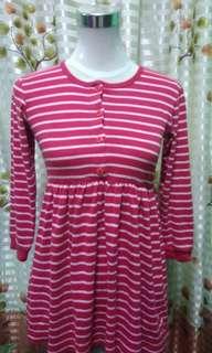 Red stripes longsleeves dress