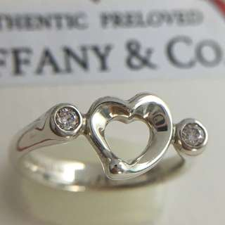 Mint Authentic Tiffany & Co. Elsa Peretti Open Heart 2 Diamond Ring Silver #5.75
