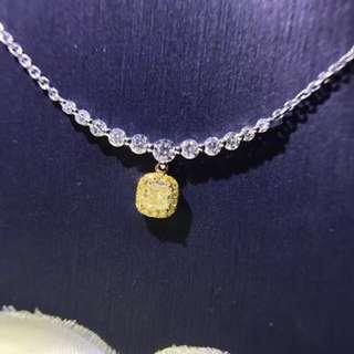 18k鑲黃鑽鑽石頸鏈, 主石:0.20ct   襯石:0.383ct,只售7000