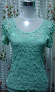Mint green Lace top