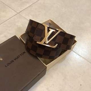 Lv Damier belt warna coklat