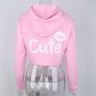 PO // Cute Kisses Crop Hoodie Pullover // TT012
