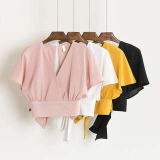 PO | V Neck Bow Back Crepe Blouse