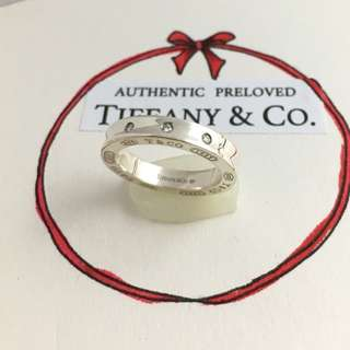 Authentic Tiffany & Co. 1837 Triple 3 Diamond Stacking Silver  Band Ring Retired 4.5
