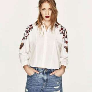 Zara embroidered shirt