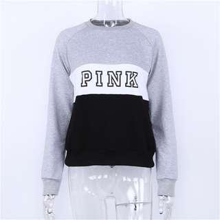 PO // Pink Basic Colour Block Pullover // TT014