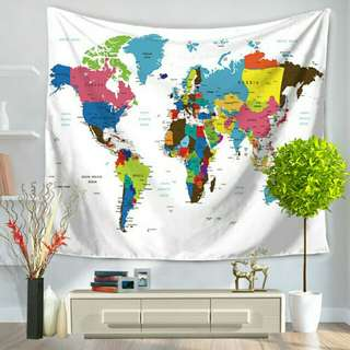 World Map Tapestry (ready stock)