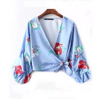 European and American style stripe flower printing V-neck zipper puff lace shirt