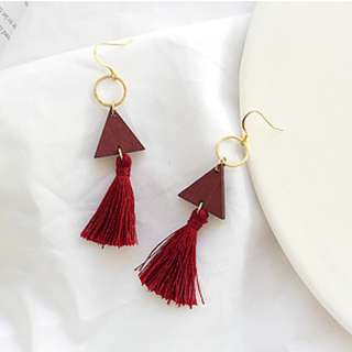 Triangle Wood with Tassel Earring