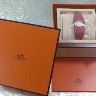 全新100% REAL HERMES PARIS 真皮紅色手錶 (公價HKD:22300) 現4.4折放售 價格可議